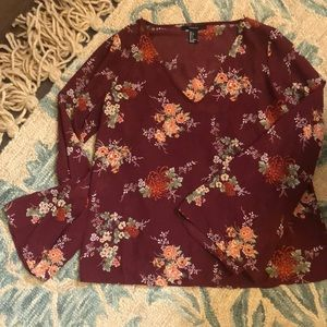 Forever 21 sheer bell sleeve blouse w/builtin cami